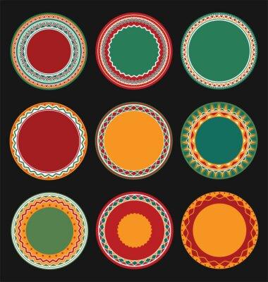 Obraz Kolekcja meksykańskiego Okrągły dekoracyjne granicy ramki z Black wype tle