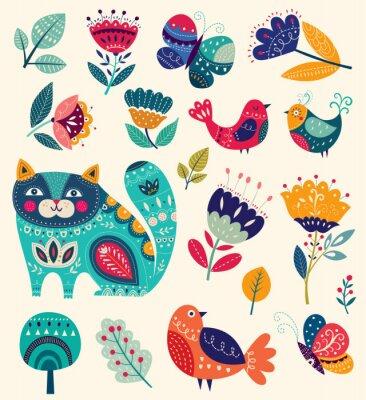 Obraz Kolekcja wektorowych z kwiatów, dekoracyjne kota, ptaków i motyli