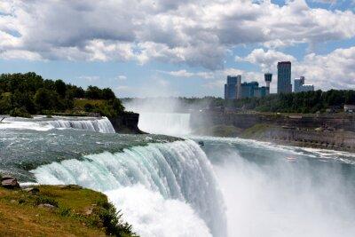 Obraz Kolor DSLR Zdjęcie szeroki kąt obraz Niagara Falls, pokazując amerykańskiej i kanadyjskiej stronie; pozioma z miejsca kopiowania tekstu