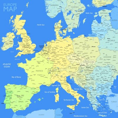 Obraz Kolor Mapa Europy