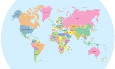 Obraz Kolorowa mapa polityczna świata wektora