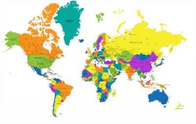 Obraz Kolorowa mapa świata politycznego z wyraźnie oznakowanych, oddzielnych warstwach. Ilustracji wektorowych.