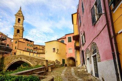 Obraz Kolorowe domy w starym mieście Dolcedo, Liguria, Włochy
