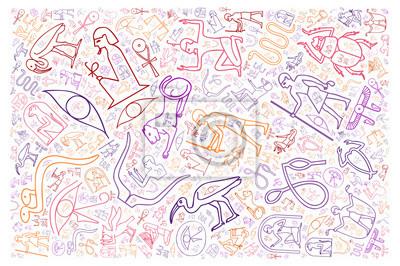 Obraz kolorowe hieroglify egipskie