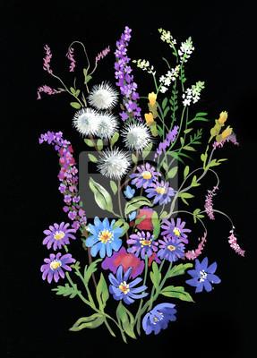 Kolorowe kwiaty akwarela ilustracja
