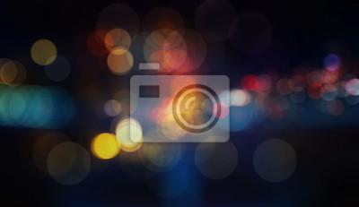 Obraz Kolorowe nieostre światła bokeh w tle nocy rozmycie