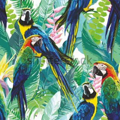Obraz kolorowe papugi i egzotyczne kwiaty