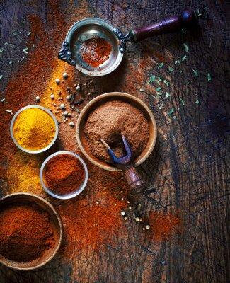 Obraz Kolorowe suszone przyprawy mielone