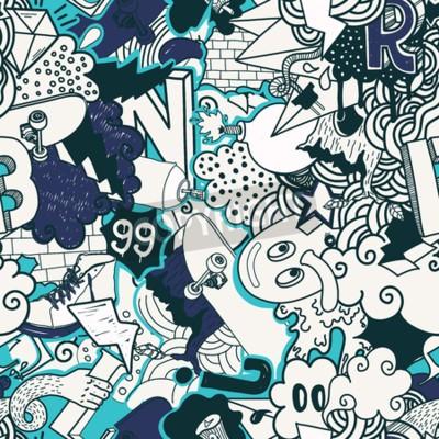 Obraz Kolorowe szwu. Graffiti Doodles ilustracji sztuki ulicy w kolorach niebieskim. Skład dziwaczne elementy i znaki rai pokładzie, odzieży ulicznej, streetwear, tapety tekstylnej tkaniny