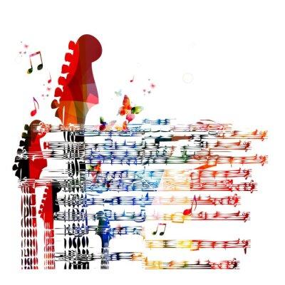 Obraz Kolorowe tło gitara muzyka. Wektor
