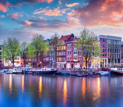 Obraz Kolorowe wiosny słońca na kanałach Amsterdamu