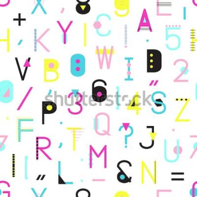 Obraz Kolorowy alfabet wzór z numerami i interpunkcja geometrycznych kształtów na białym tle. Kreatywne typografii owijanie tekstur w stylu Memphis. Hipster streszczenie ilustracja.