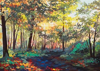Obraz kolorowy las z drzewami wiosną o zachodzie słońca, obraz olejny