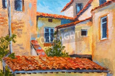Obraz Kolorowy obraz olejny - dachy domów, europejska ulica, sztuka impresjonizmu