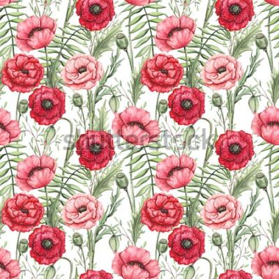 Obraz Kolorowy wzór akwarela Maki i liści