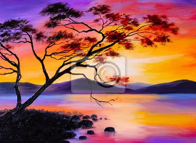 Obraz kolorowy zachód słońca nad jeziorem, malarstwo olejne, akwarela sztuka