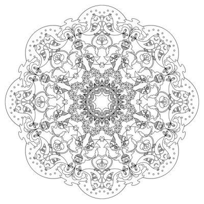 Obraz Kołowy wzór z ptaków i kwiaty w stylu Doodle