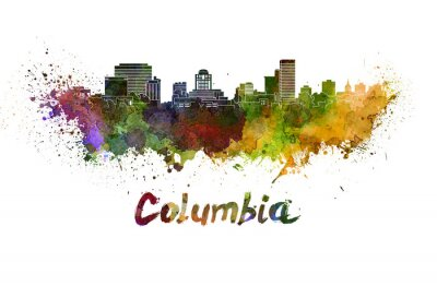 Obraz Kolumbia skyline rozpryskuje akwarela z wycinek ścieżki