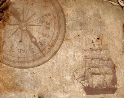 Obraz Kompas na starym papierze