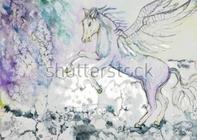Obraz Koń ze skrzydłami w sztormowej pogody. Technika dabbingu przy krawędziach daje efekt miękkiego ogniskowania ze zmienioną szorstkością powierzchni papieru.