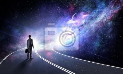 Obraz Koncepcja biznesmen i kosmos