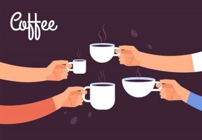 Obraz Koncepcja picia kawy. Przyjaciele piją kawę na śniadanie. Przerwa w biurze z koncepcją wektor espresso. Ilustracja kawowy napój, cukierniany śniadaniowy ranek z gorącą kawą espresso