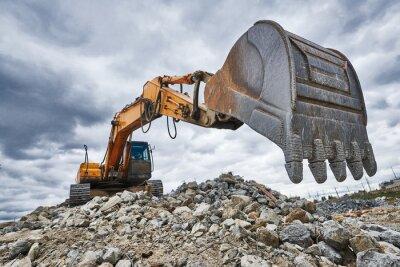 Obraz Koparka ładowarka na budowie rozbiórki