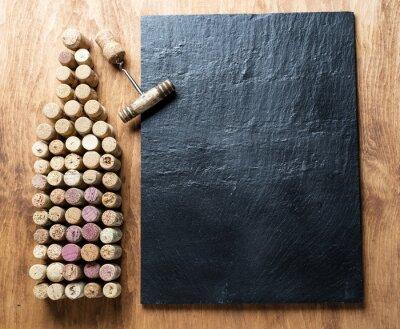 Obraz korki do wina w kształcie butelki wina.