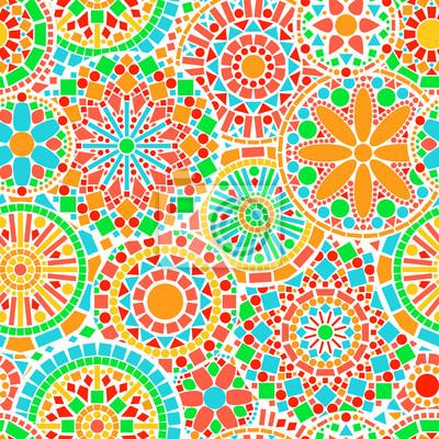 c3c75b131ce764 Koronkowy koło mandale kolorowe kwiaty bez szwu deseń Obrazy na ...