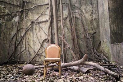 Obraz Korzenie, stare krzesło i zniszczony mur