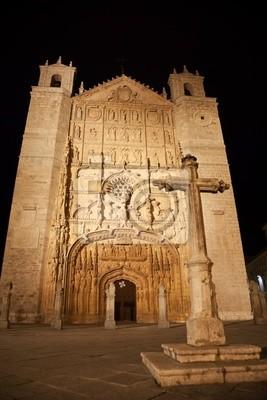 Kościół San Pablo w nocy, Valladolid, Hiszpania