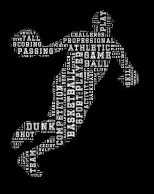 Obraz Koszykarz word cloud, koszykówka typografii tle