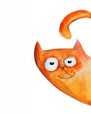 Obraz Kot z rogu. Akwarela