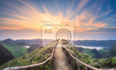 Obraz Krajobraz górski Ponta Delgada wyspa, Azory