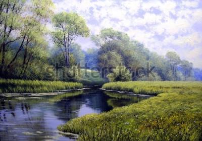 Obraz Krajobraz obraz olejny, kolorowy las lato, piękna rzeka