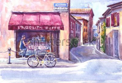 Obraz Krajobraz. Ulica w starym mieście. Włochy. Szkic akwarela.