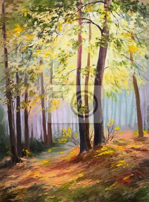 krajobraz wiosna, drzewa w lesie, kolorowy obraz olejny