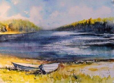 Obraz Krajobraz z łodziami rybackimi na jeziora wybrzeżu. Obraz utworzony za pomocą akwarel.