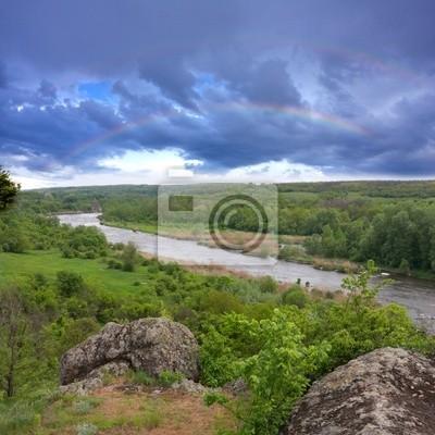 Krajobraz z skały i rzeki