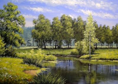 Obraz Krajobrazy olejne, rzeka i drzewa, staw, sztuka