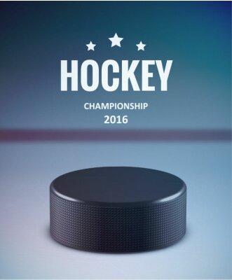 Obraz Krążek hokejowy odizolowane na lodzie z rozmycia