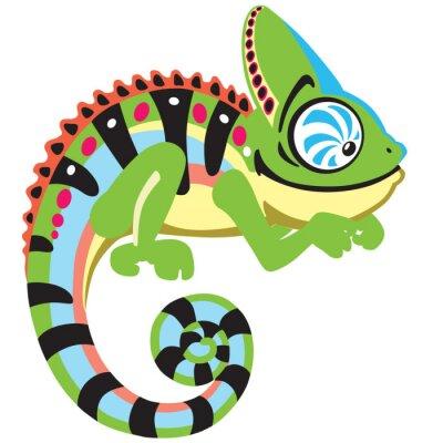 Obraz kreskówki kameleon jaszczurka. Widok z boku obrazu samodzielnie na białym