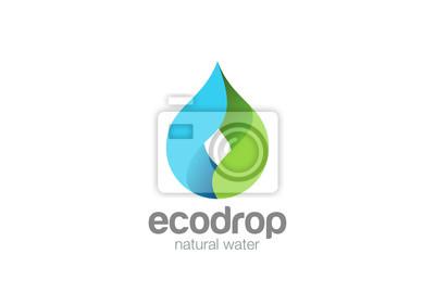 Obraz Kropla wody Wektor Logo. Krople eco naturalnych aqua Niebieska ikona zielony