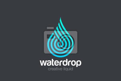 Obraz Kropla wody Wektor logotypu Wektor liniowy. Blue Droplet linie aqua ikonę