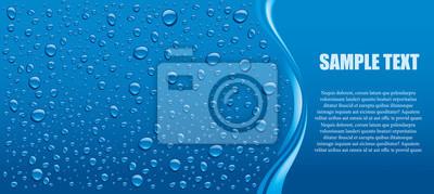 Obraz Krople wody niebieskie tło