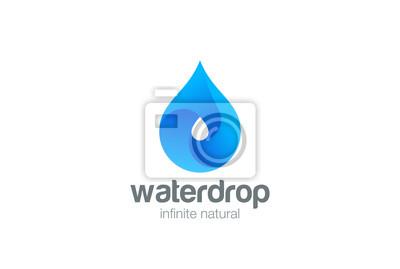 Obraz Krople wody wektor logo Aqua kropelka ikona Naturalny napój