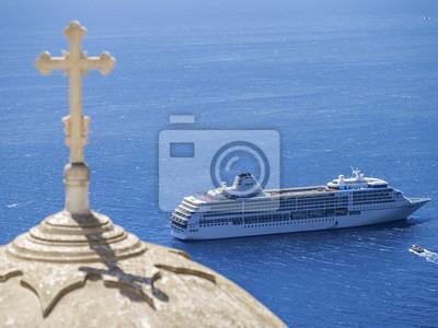 krzyż na niebieskim góry i morze wykładziny