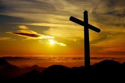 Obraz Krzyż na tle zachodu słońca