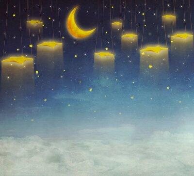 Obraz Księżyc i gwiazdy na liny na nocnym niebie