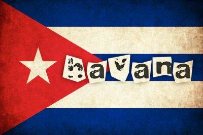 Obraz Kuba flaga grunge ilustracją kraju z tekstem